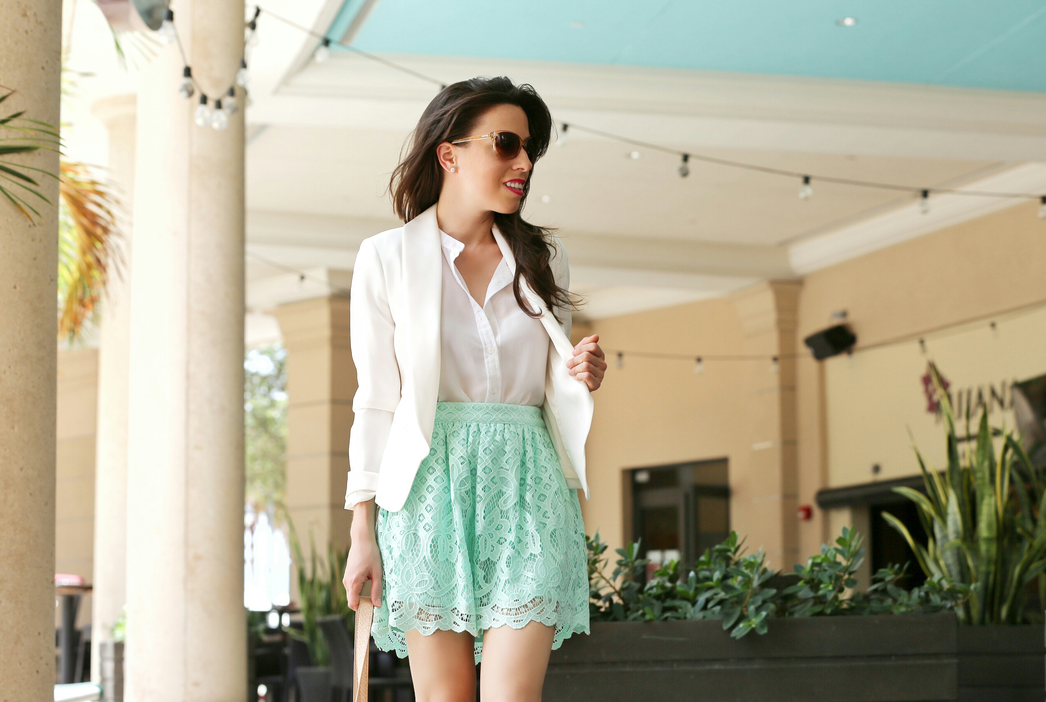 Look of the Day: White & Mint Skirt