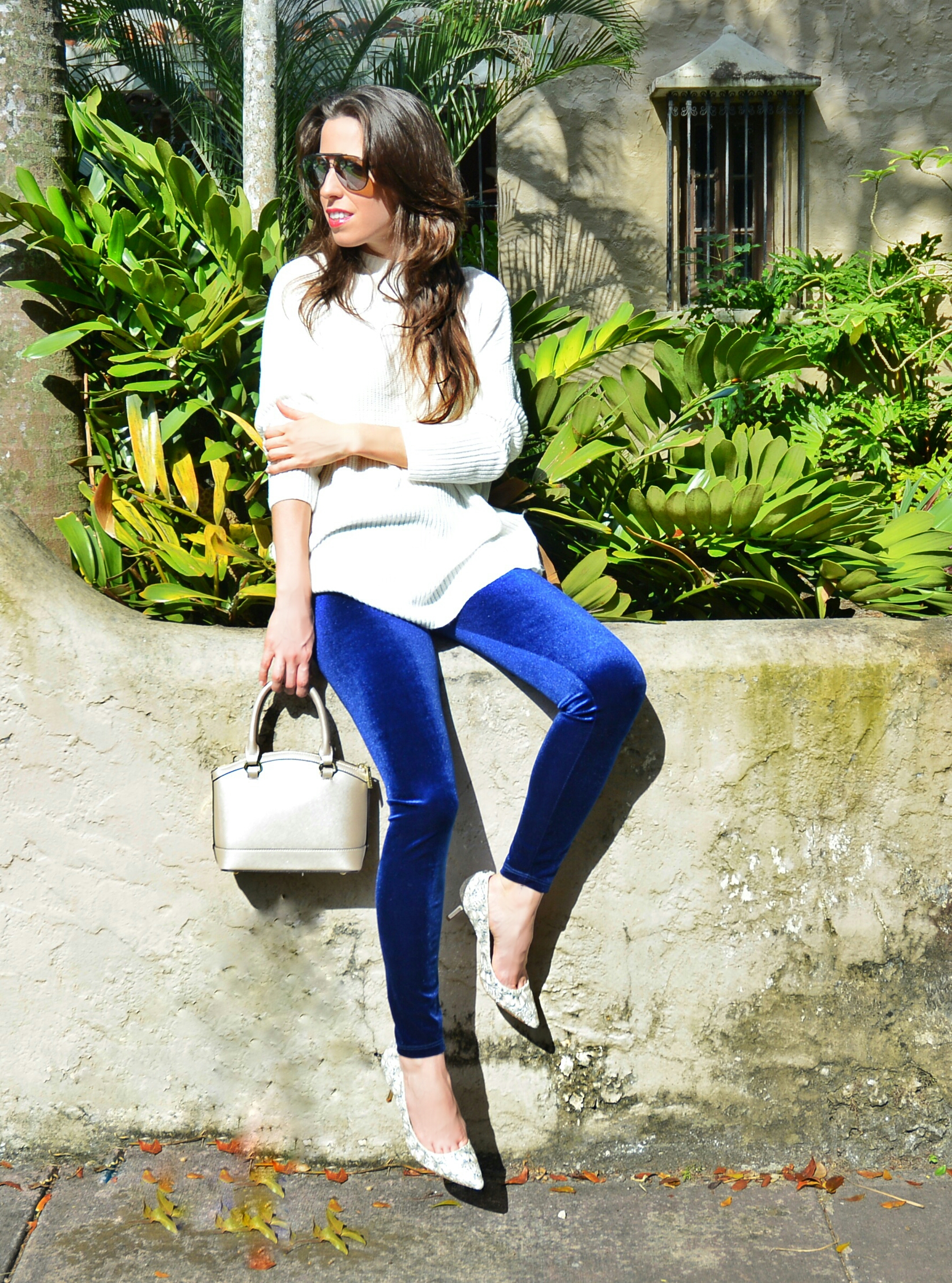 blue velvet leggings