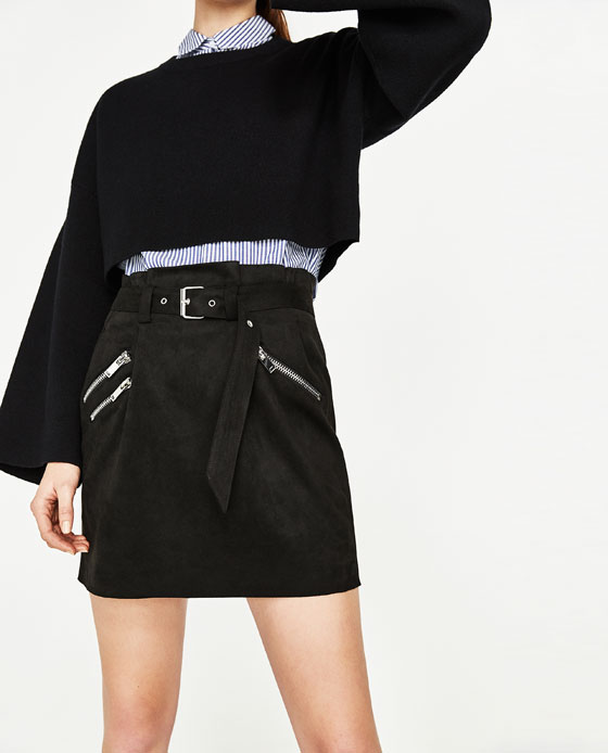 zara skirt with zips