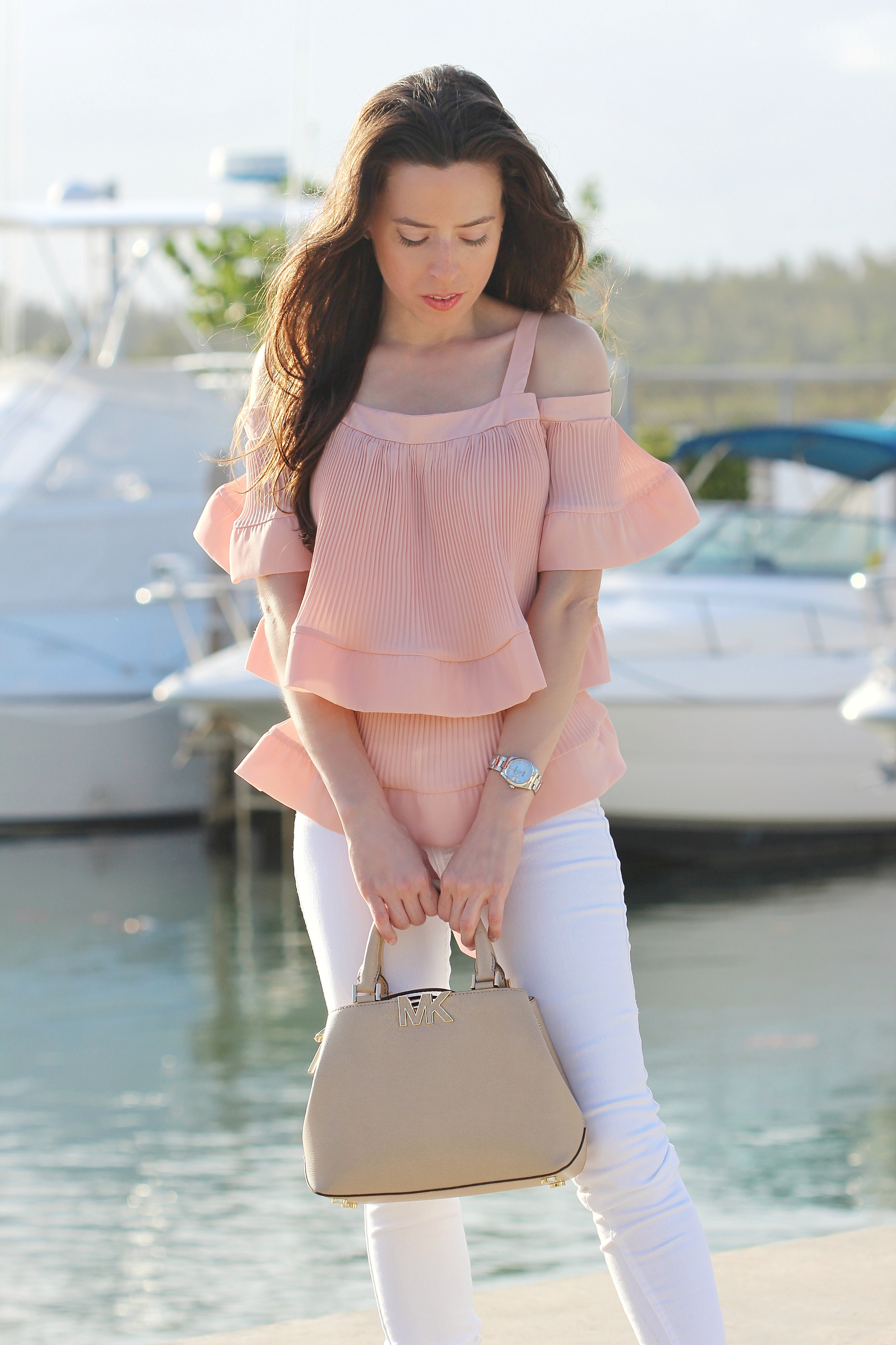 storets pink ruffle top