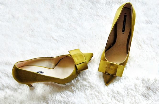 zara satin shoes with bow