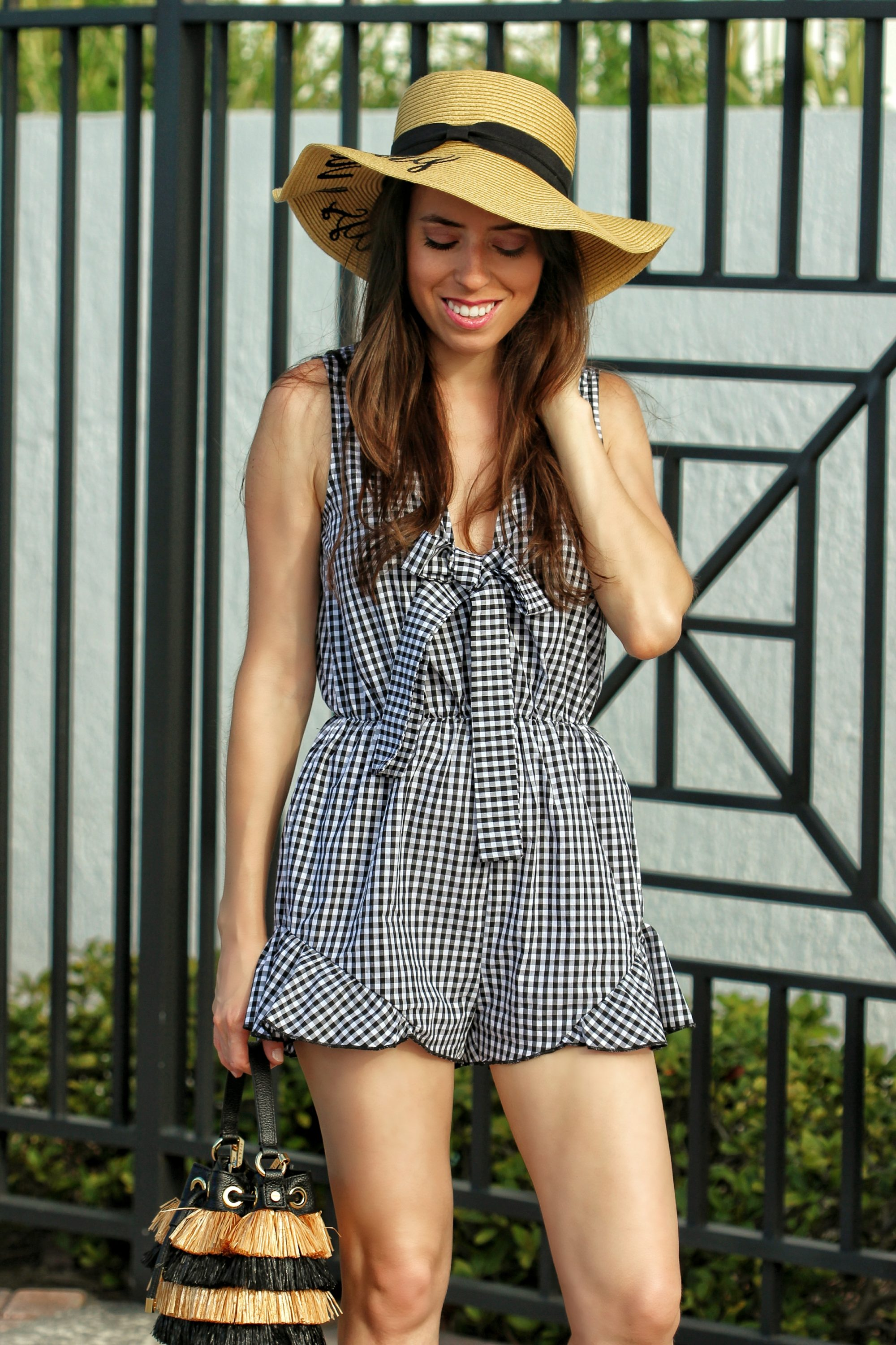 how to wear gingham top