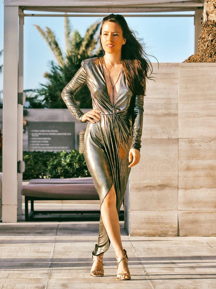 Metallic Dresses for New Year's Eve with Express
