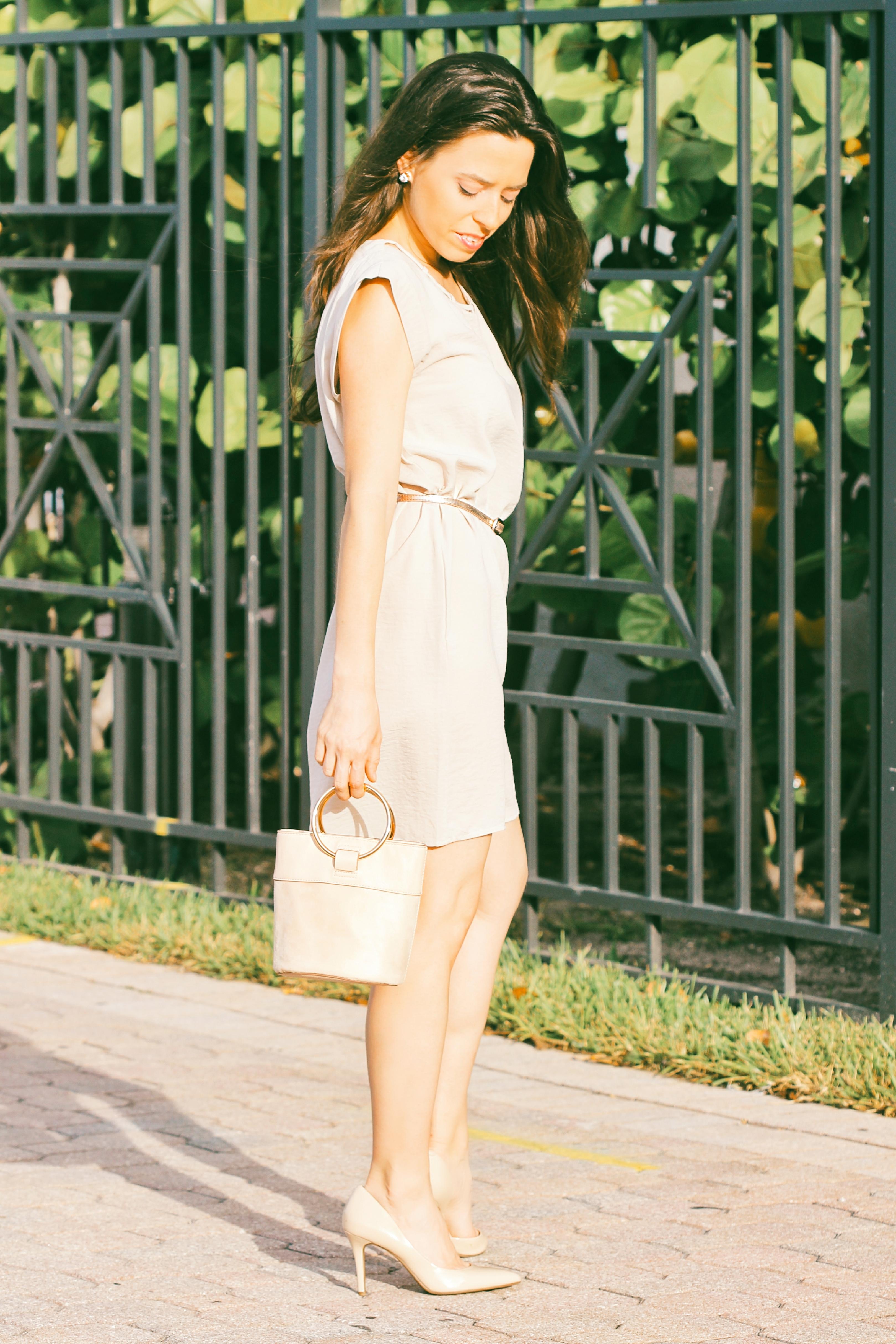 neutral midi dress knee length dress