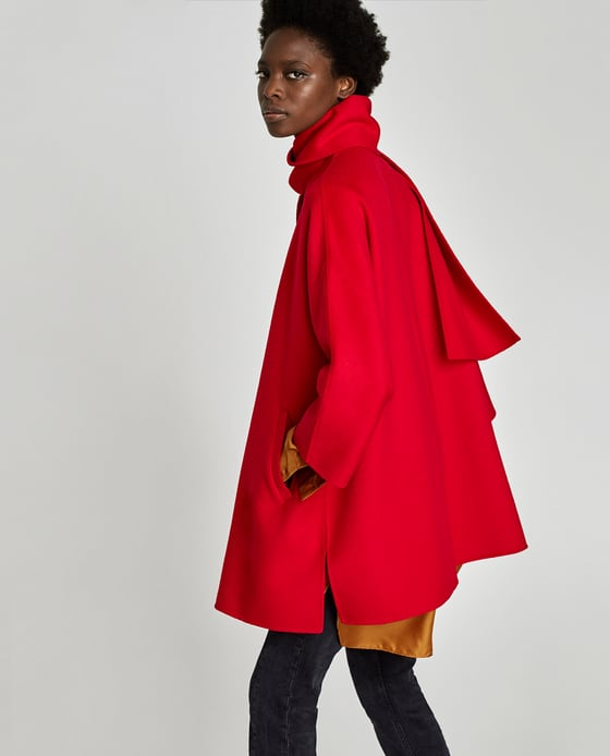 zara red coat drapped collar