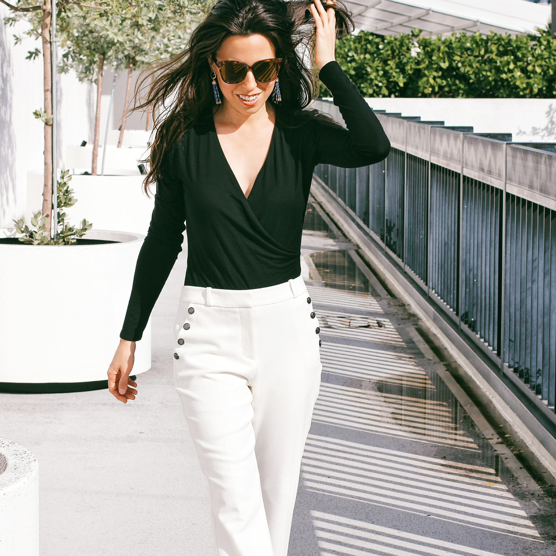 Black Bodysuit & White Pants