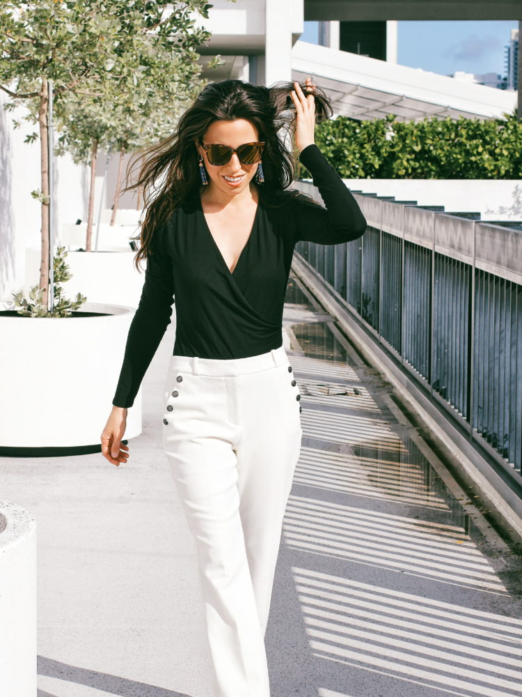 Black Bodysuit & White Pants