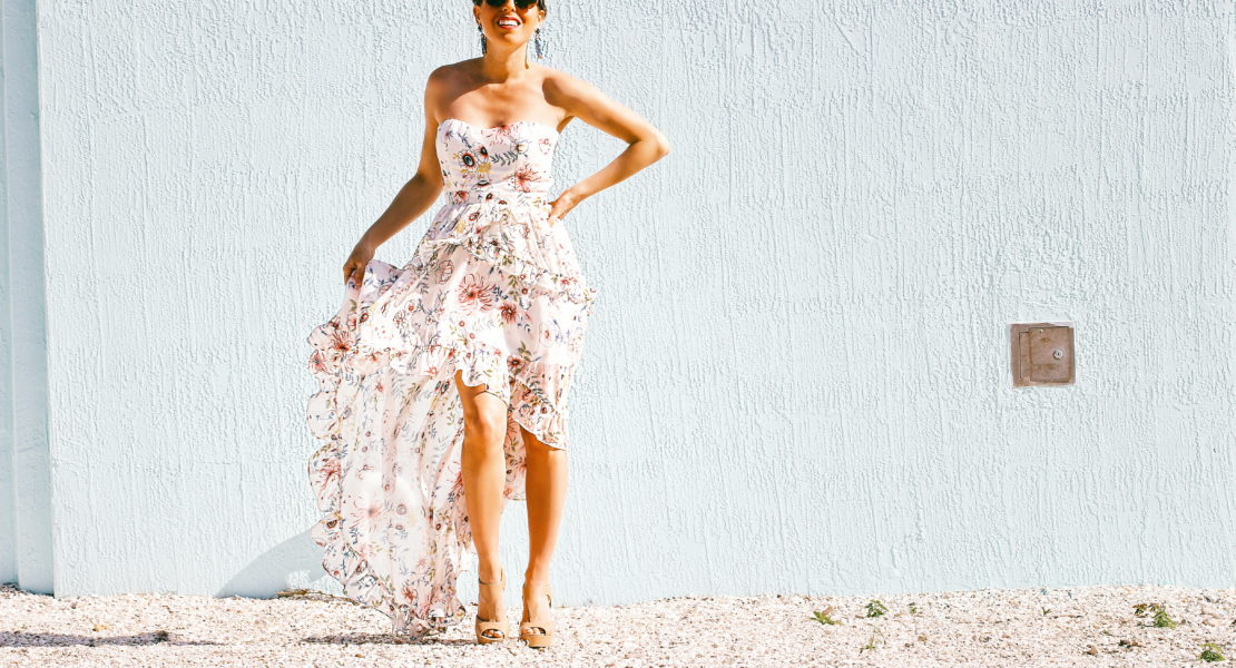 floral strapless dress long maxi