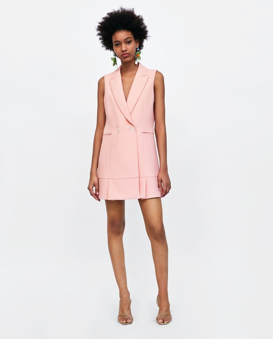 pink pleated waistcoat zara pink coat