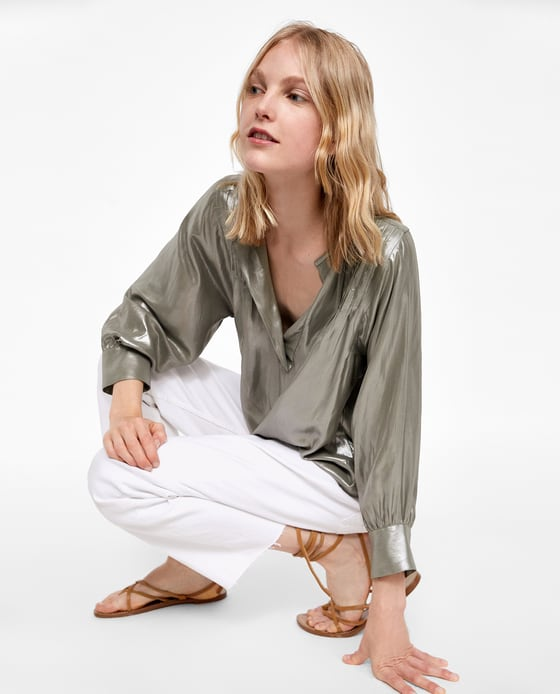metallic blouse zara