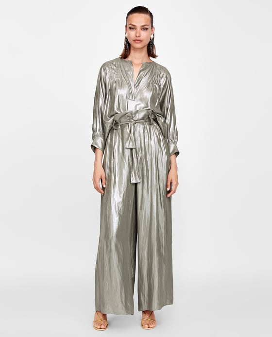 metallic pants zara