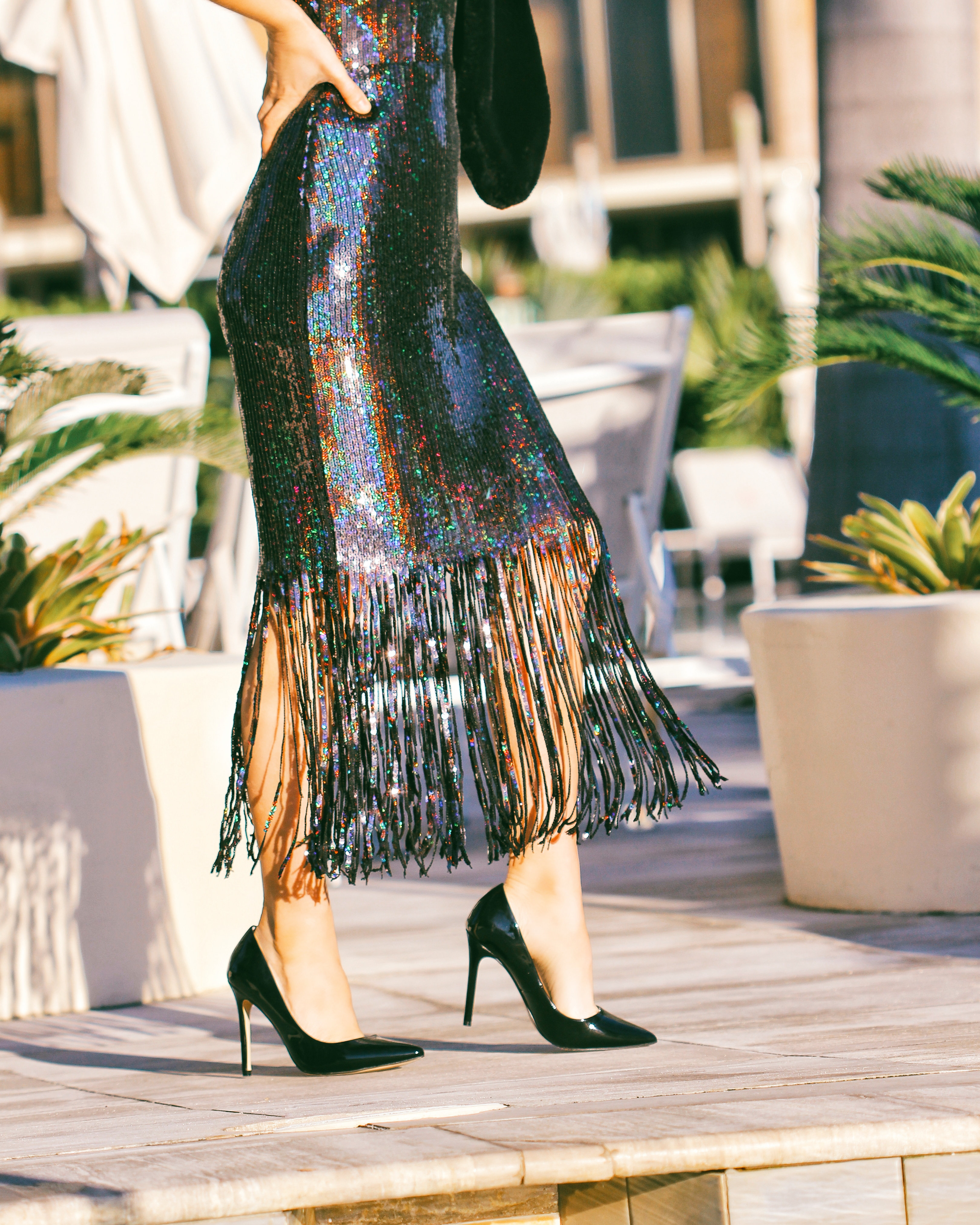 sequin fringe midi dress
