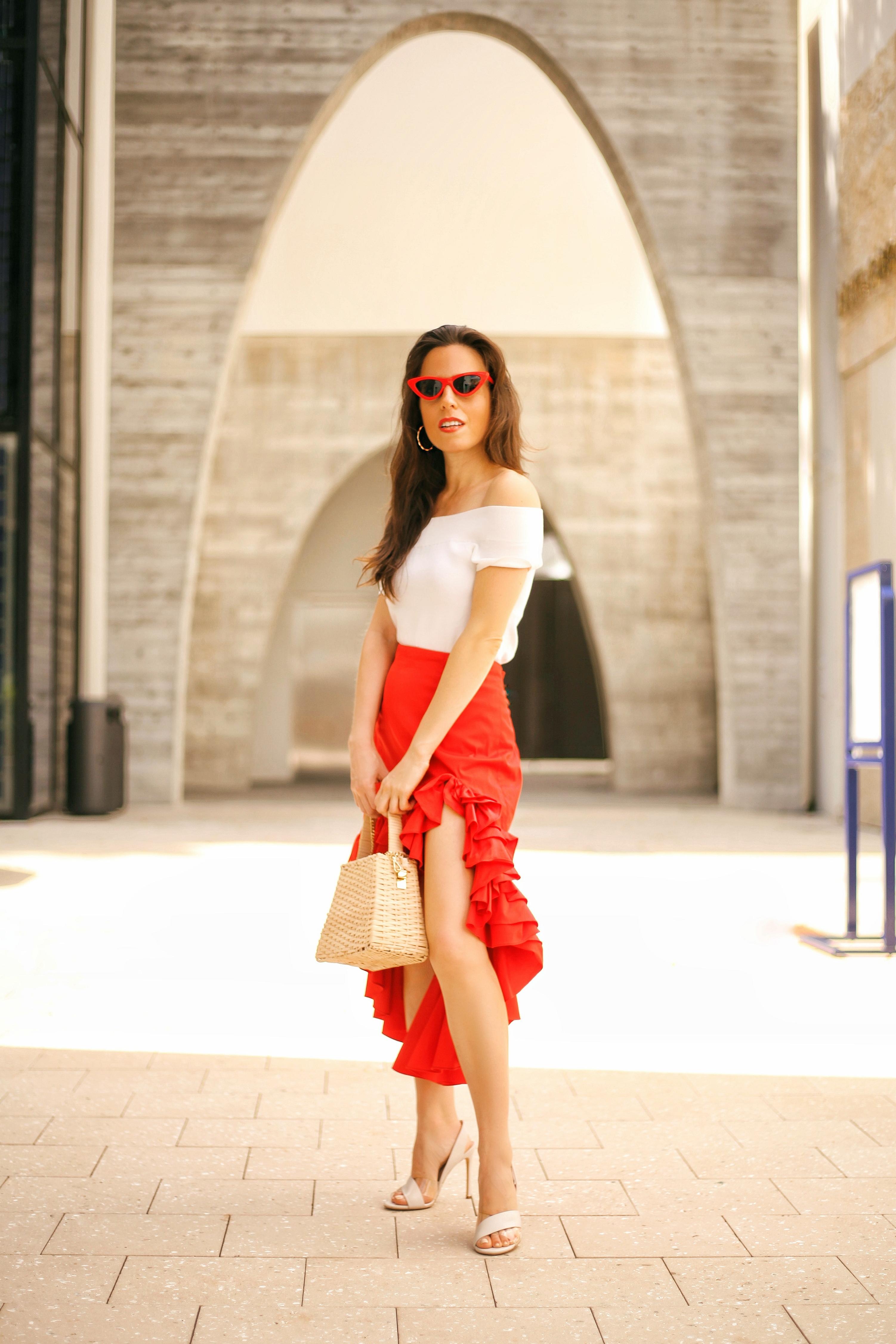 caroline constas ruffle skirt fashion designer