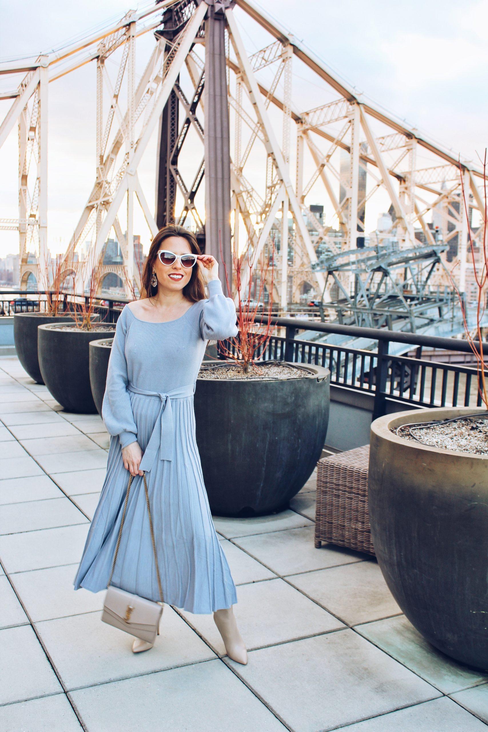 pleated-knit-dress